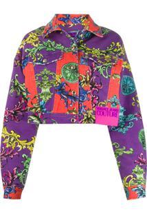 Versace Jeans Couture Jaqueta Jeans Com Estampa Barroca - Roxo