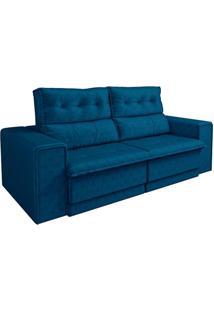 Sofá 3 Lugares Retrátil E Reclinável Glamour Veludo Azul