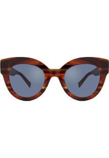 Óculos De Sol Max Mara Flat Feminino - Feminino-Marrom