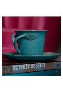 Xícara De Cerâmica Folhinha Azul Fosco Talchá