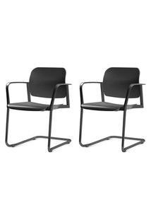 Kit 2 Cadeiras Leaf Com Bracos Base Fixa Preta - 57402 Preto