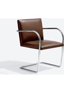Cadeira Mr245 Inox Linho Impermeabilizado Marrom - Wk-Ast-05