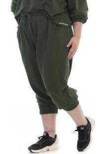 Calça Plus Size Rosa Dourada Moletom Leve - Feminino-Verde Militar