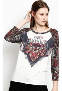 "Camiseta ""Original Brand"" - Branca & Preta - Tritontriton"
