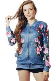 Jaqueta Elephunk Bomber Floral Estampada Full Print Rosas Fashion Feminina - Feminino