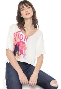Camiseta Cropped Triton Estampada Bege