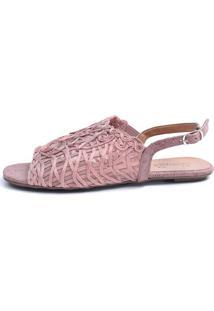Rasteira Avarca Scarpan Calçados Finos Sandália Em Tecido Tramado Rose - Kanui