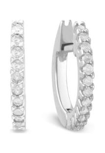 Argola Ouro Branco E Diamantes 11 Mm
