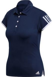 Camisa Polo Esporte Tênis Adidas 3 Stripes Azul