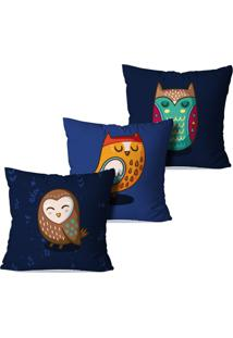 Kit 3 Capas Para Almofadas Decorativas Owl 45X45Cm
