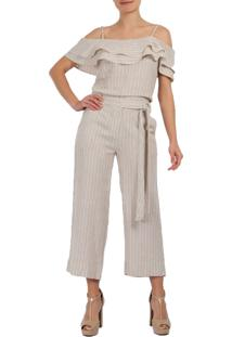 Blusa Linho Mx Fashion Listrada Ayla Areia