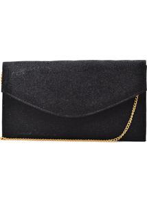 Bolsa De Festa Hendy Bag Envelope Glitter Preto