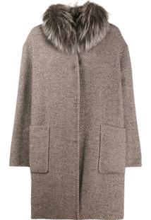Manzoni 24 Fur Trim Herringbone Coat - Marrom