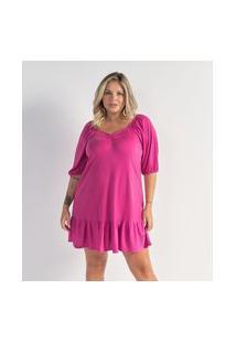 Vestido De Malha Crepe Com Mangas Bufantes Curve E Plus Size Rosa