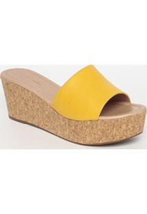 Tamanco Plataforma Com Cortiça - Amarelo & Bege - Saemporionaka