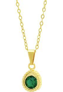 Gargantilha Horus Import Ponto Luz Gotinha Verde Esmeralda Banhada Ouro 18 K 1061113