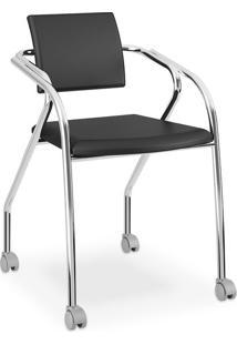 Cadeira Para Escritório Cromada 1713, Napa Preta