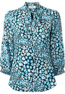 Cefinn Blusa Estampada Com Amarração Na Gola - Azul