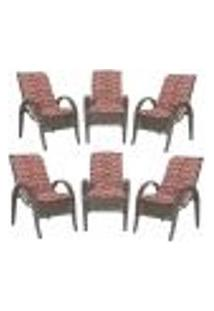 Cadeiras 6Un P/ Jardim Lazer Edicula Varanda Descanso Fibra E Tramas Napoli Plus Pedra Ferro A19