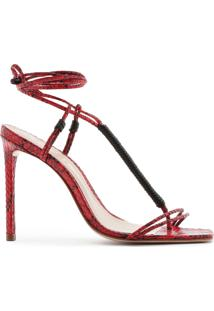 Sandália Strings Lace-Up Python Red | Schutz