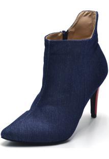 Bota Flor Da Pele Jeans Azul-Marinho