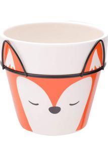 Vaso Fox Face- Laranja & Branco- 10,5Xø12Cm- Urburban