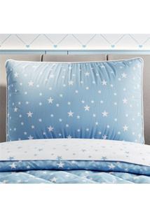 Capa Travesseiro Infantil Menino Azul Estrelas Grão De Gente Azul