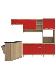 Cozinha Compacta Multimóveis Sicília 5843.132.694 Argila Vermelho Se