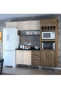 Cozinha Compacta 8 Portas 3 Gavetas Yasmin 0421T Demolição/Mel 3D - Genialflex