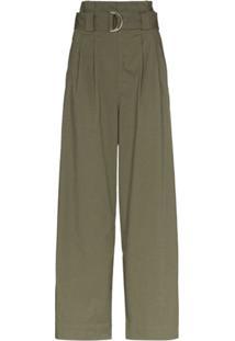 Ganni Calça Pantalona - Verde