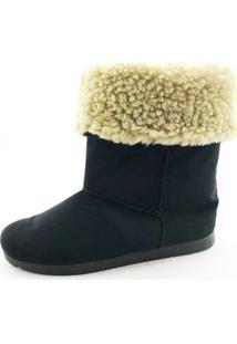 Bota Quality Shoes Forrada Em Lã Camurça Preta