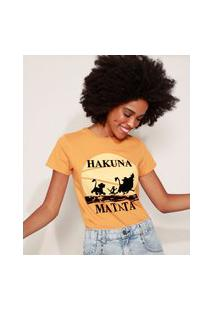 "Blusa Feminina O Rei Leão Hakuna Matata"" Manga Curta Decote Redondo Mostarda"""