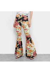 Calça Flare Lez Lez Estampada Feminina - Feminino-Floral