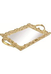 Bandeja Em Poliresina Com Espelho, Moas, Dourada, 5 X 25 X 44.5 Cm