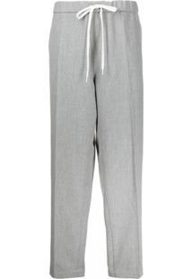 Mm6 Maison Margiela Drawstring-Waist Straight Leg Trousers - Cinza