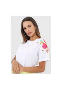 Camiseta Lança Perfume Flores Branca