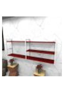 Estante Estilo Industrial Sala Aço Cor Branco 180X30X68Cm Cxlxa Cor Mdf Vermelho Modelo Ind38Vrsl