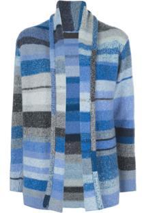 The Elder Statesman Cardigan Color Block De Cashmere - Azul