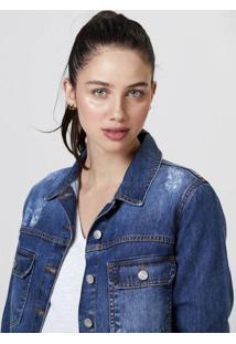 Jaqueta Jeans Feminina Com Bolsos Estonada