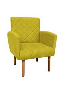 Poltrona Decorativa Veronês Para Sala E Recepçáo Suede Amarelo - D'Rossi