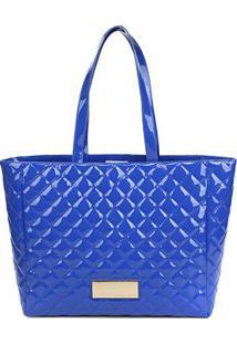 Bolsa Loucos & Santos Shopper Matelasê Verniz Soft Feminina - Feminino-Azul