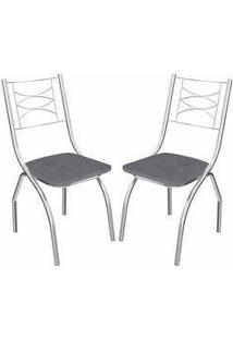 Kit 2 Cadeiras Itália Cromada Kappesberg 2C018 Preto Linho Cinza