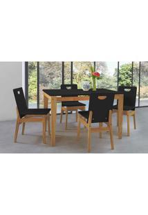 Mesa De Jantar 4 Cadeiras Tucupi 120Cm - Acabamento Stain Nozes E Laca Preto