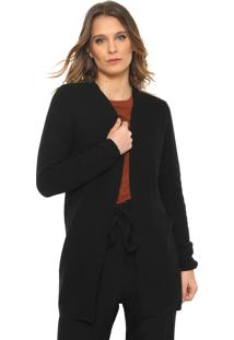 Maxi Cardigan Only Tricot Liso Preto