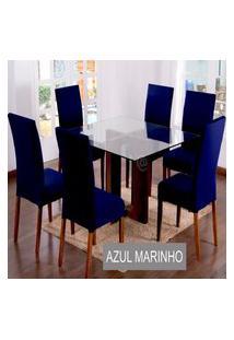 Kit Capa De Cadeira Lisa 2 Peças Azul Marinho