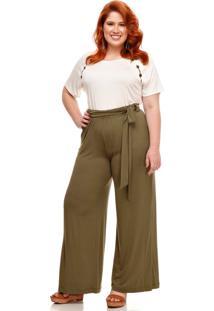 Calça Pantalona Melinde Plus Size Lisa Militar