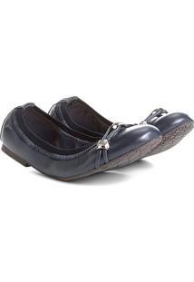 Sapatilha Couro Shoestock Elástico Metais Feminina - Feminino-Marinho