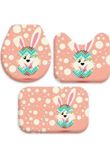 Jogo Tapetes Love Decor Para Banheiro Happy Cute Easter Rosa Único