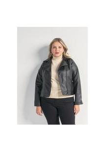 Jaqueta Perfecto Em Pu Curve & Plus Size Preto
