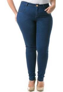 Calça Jeans Feminina Confidencial Extra Cigarrete Skinny Plus Size - Feminino-Azul Escuro